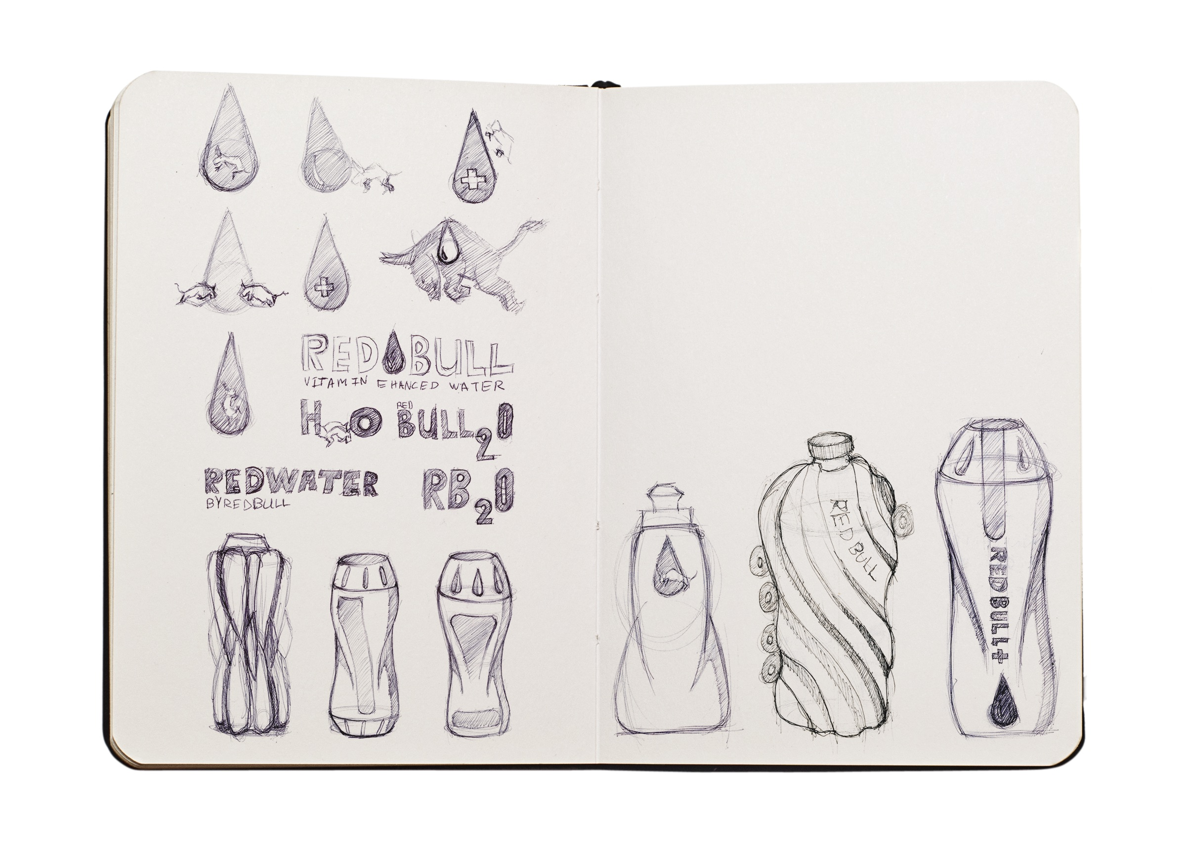Some of the ideation sketches for the Bottle.