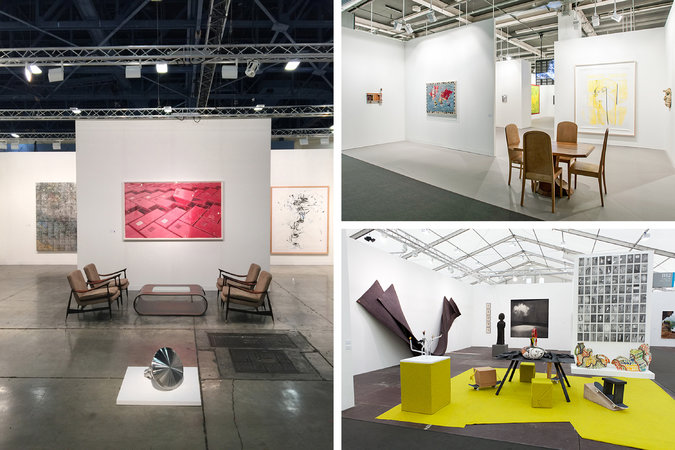 Booths at art fairs by galleries like (clockwise from left) Sean Kelly, Gladstone and Salon 94 have begun to incorporate adventurous 20th-century furniture design alongside the art on display.  CreditClockwise from left: Courtesy of Sean Kelly Gallery; Raphael Fanelli, courtesy of Gladstone Gallery; Angus Mill, courtesy of Salon 94