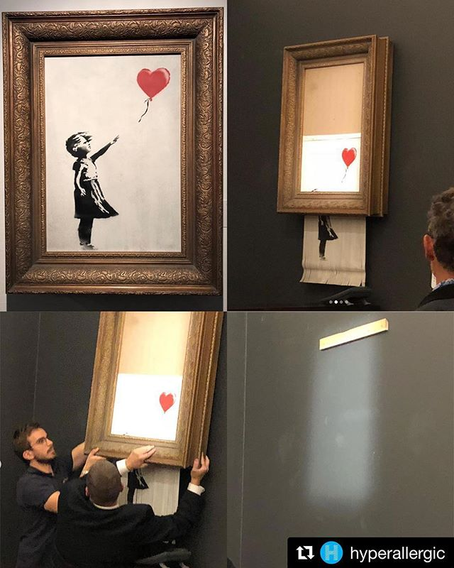 "Absolutely fucking brilliant! 👏🏽👏🏽👏🏽 #Repost @hyperallergic ・・・ Tonight, a 1.3M @banksy artwork ""self-destructed"" at a London auction. Robert Casterline of @casterlinegoodmangallery photographed the whole thing and he allowed us to show the images here. ""Girl with a Balloon"" (2006) was the final lot of the evening sale at Sotheby's and ended things off with an impressive final price of £953,829 (~$1,251,423), or £1,042,000 with buyer's premium (~$1,367,104). Maybe people should've suspected something was suspicious when the artwork sold for the exact same figure as the artist's previous auction record in 2008. . . . . . . . . . #sothebys #art #banksy #banksyart #artauction #fineart"