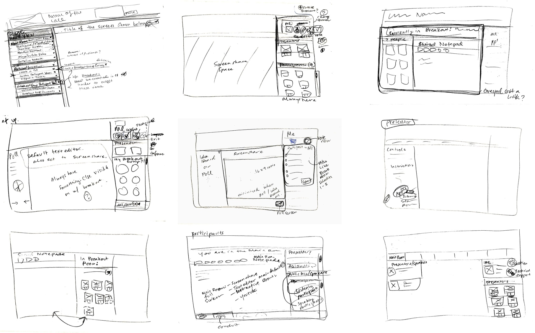The initial designs I sketched during the ideation process.