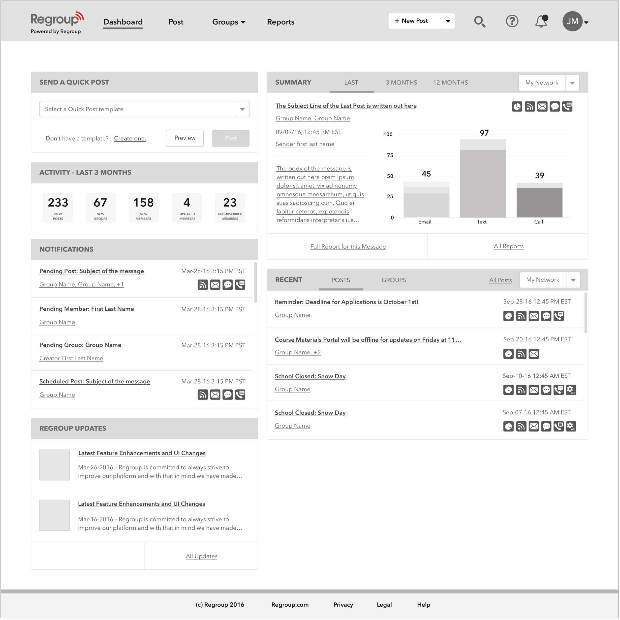 Dashboard Wireframe Redesign