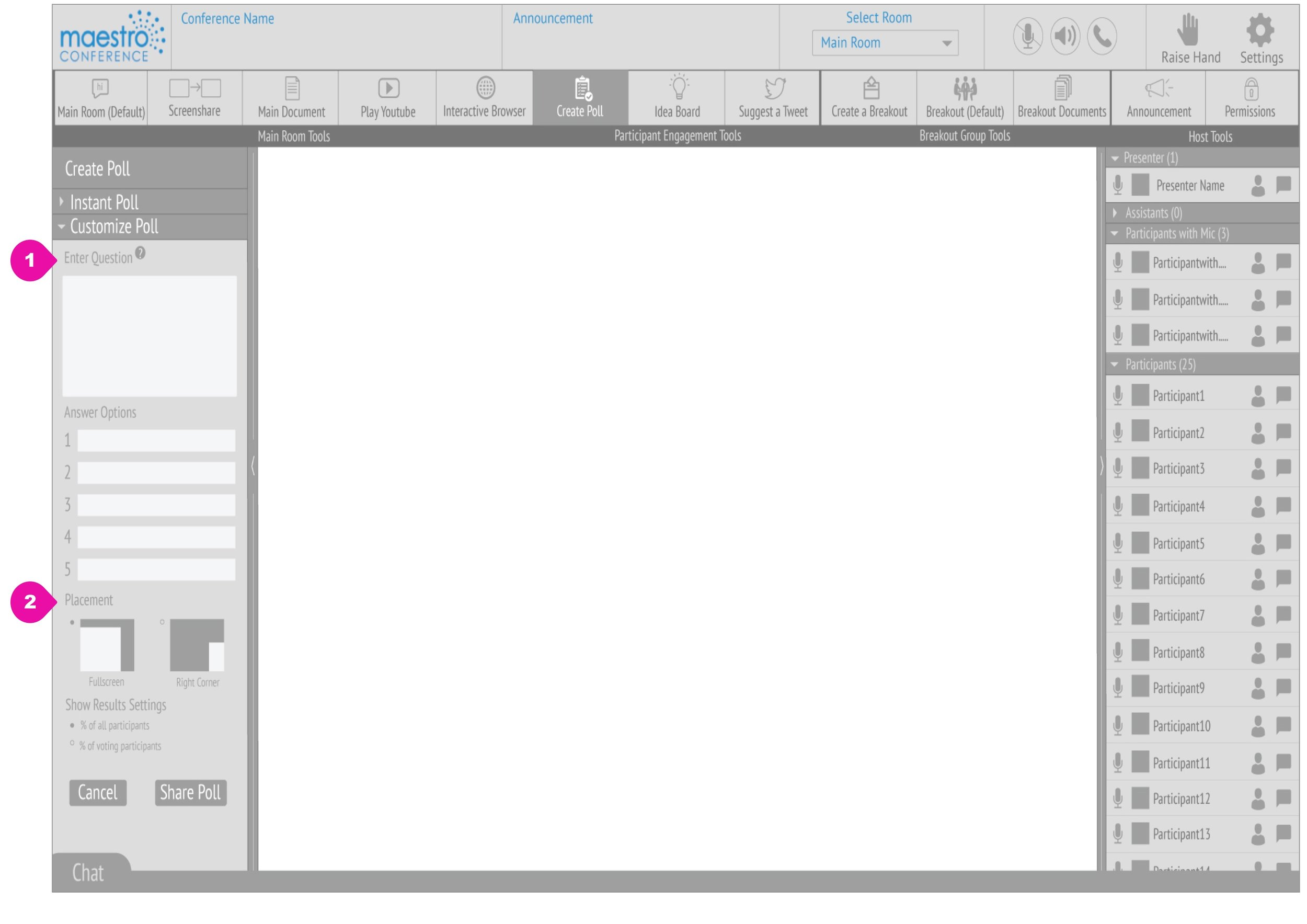 Presenter's screen while Create a Poll tool is active. Wireframes by Ariana Lum.