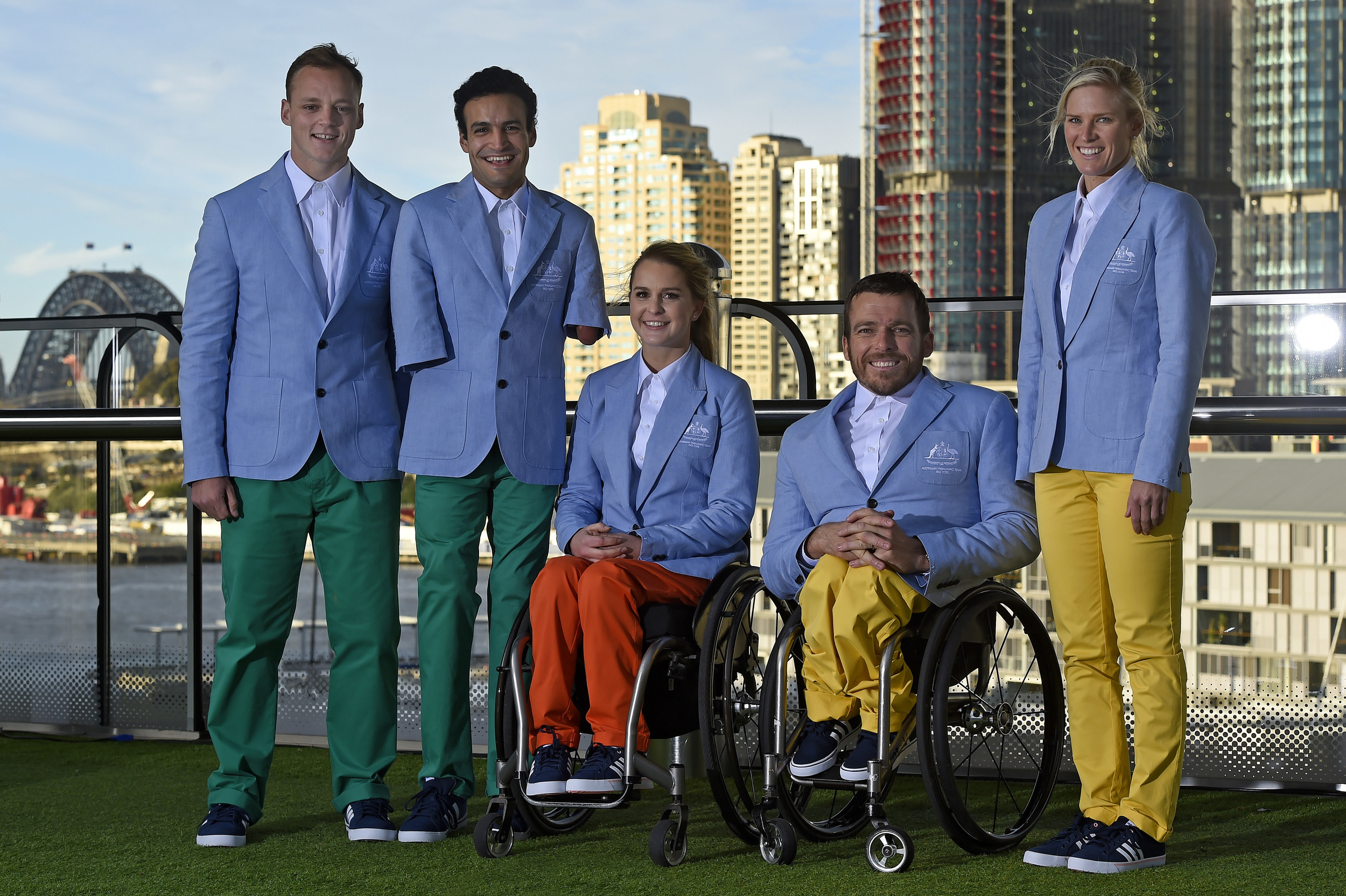Ceremonial wear L-R - Jayden Sawyer (athletics), Ahmed Kelly (athletics), Emma Booth (equestrian), Kurt Fearnley (athletics), Kate Doughty (Paratriathlon)