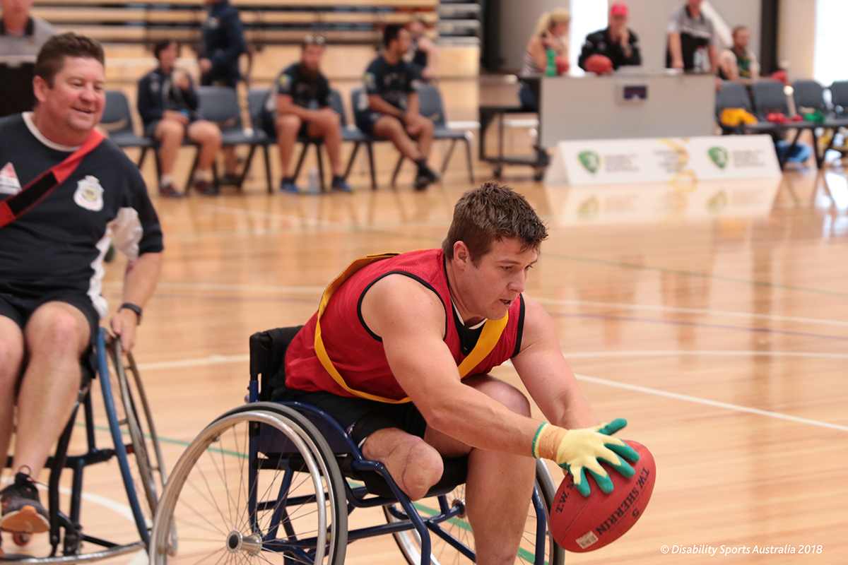 Able Seaman Mark Daniels competing at the 2018 Wheelchair Aussie Rules Nationals