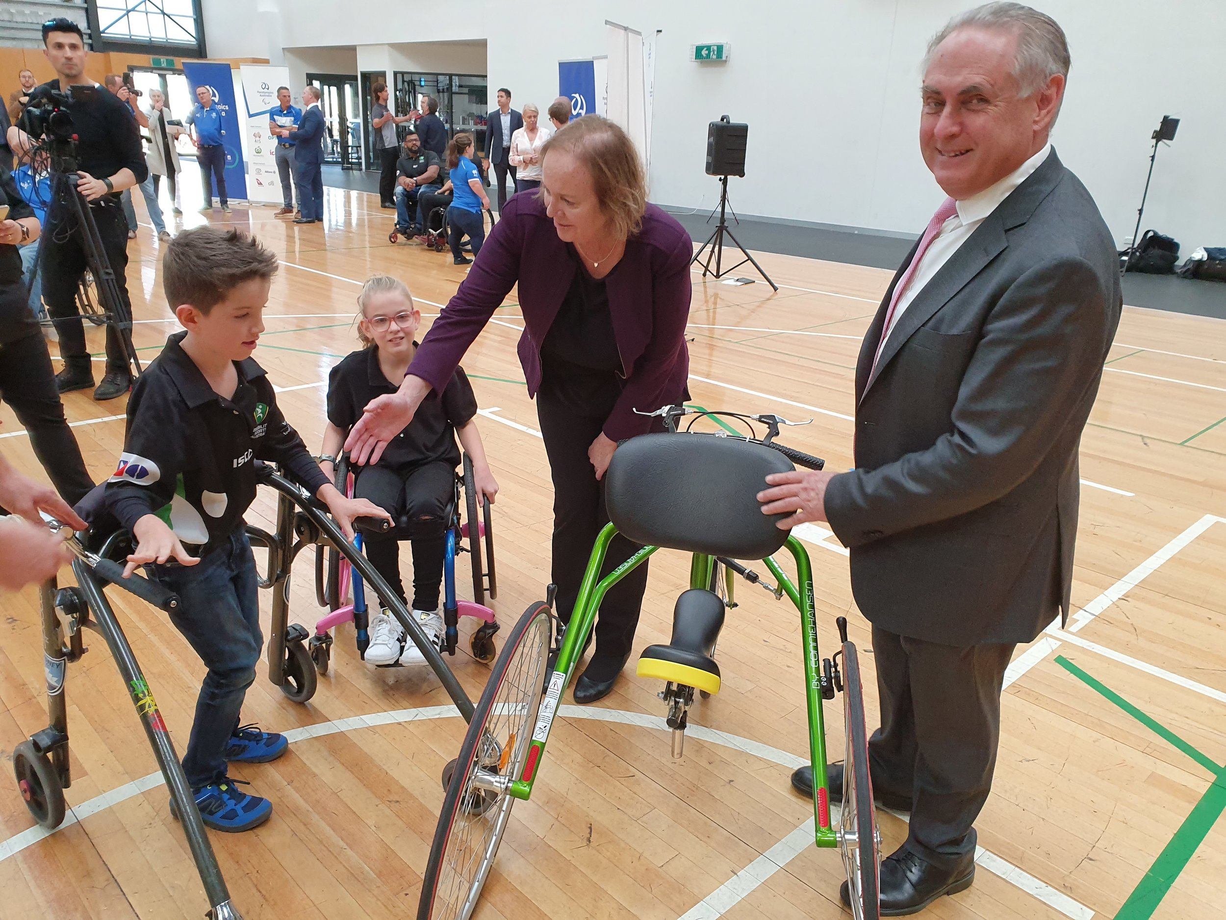 Senator Carol Brown (Shadow Minister for Disability & Carers) and Senator the Hon Don Farrell (Shadow Minister for Sport) meeting RaceRunning athlete, Mr Arran Keith and DSA Youth Ambassador, Miss Emily Prior on Tuesday, 14 May at the announcement.
