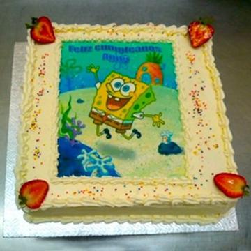 Gâteau d'anniversaire rectangulaire à motif imprimé 03