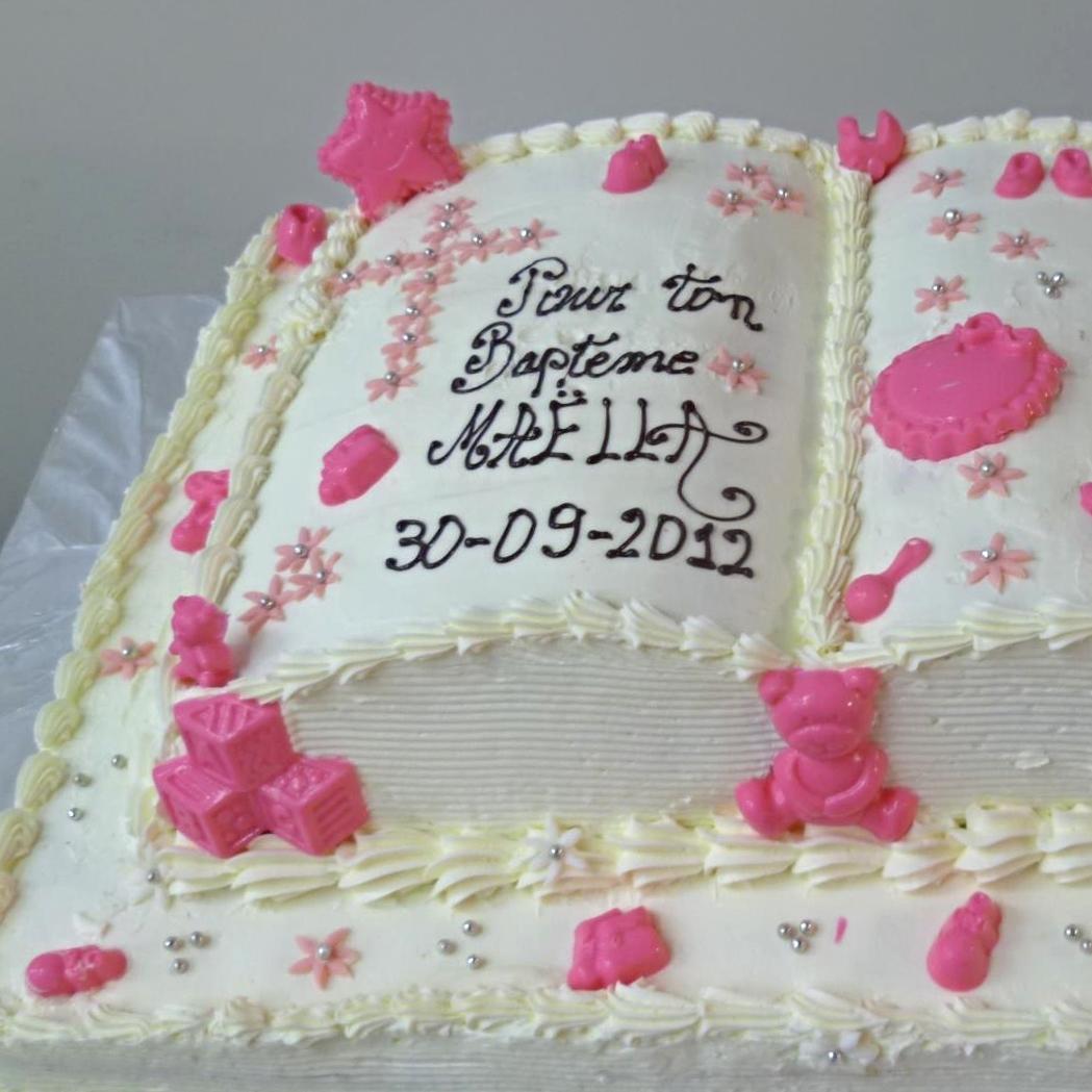 open book baptism cake