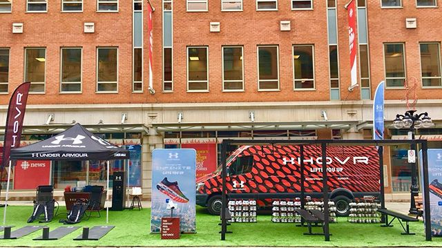 We're on Sparks Street in Ottawa with Under Armour until May 25th for the Under Armour HOVR shoe activation! If you're a runner or just a shoe fan, come on out! Relax in the recovery station, stretch out on the yoga mats, get educated on the HOVR Infinite or Sonic 2 shoes and take them out for a test run. You may just find your perfect pair of shoes :) @underarmourca #uahovr