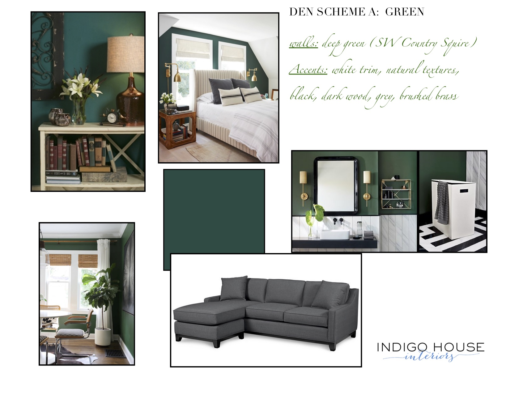 Design Concept board for a color scheme for a room about to be painted, working with clients' existing furniture
