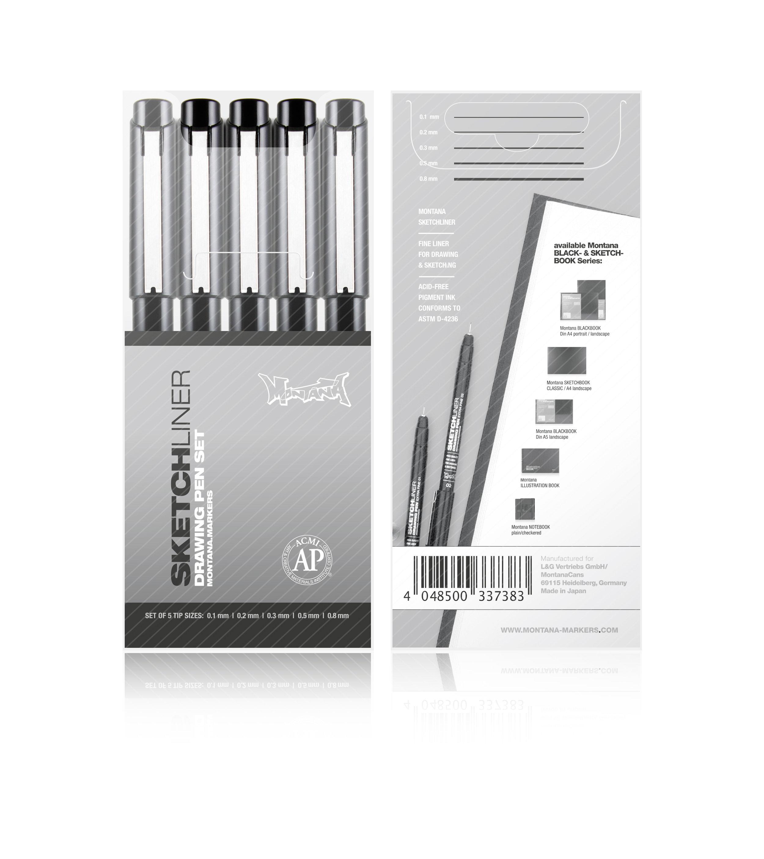 MONTANA SKETCHLINER BLACK FINE LINE DRAWING MARKER ACID FREE PIGMENT INK