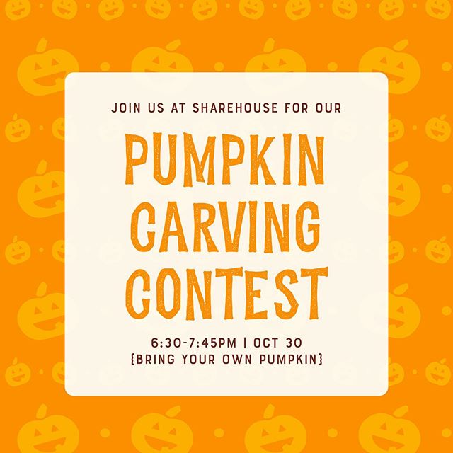 Join us on Oct. 30th, 2019 for our pumpkin carving contest and have the opportunity to win first place and win the grand prize! We will be having food, drinks, and so much fun! Bring your own pumpkin to carve!! 🎃 6:30-7:45PM!
