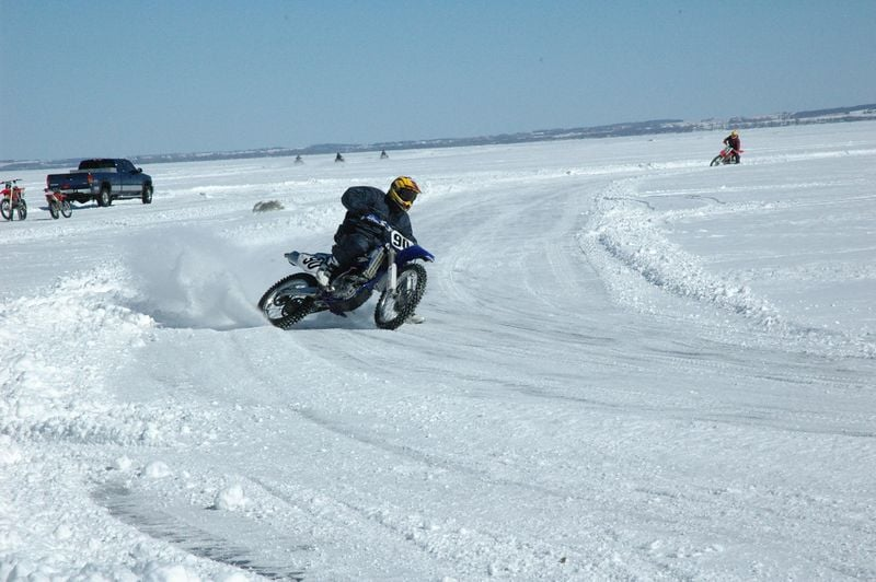 Crankin' it on the ice on a Pivot Pegz equipped YZF450, this was a very fast bike!