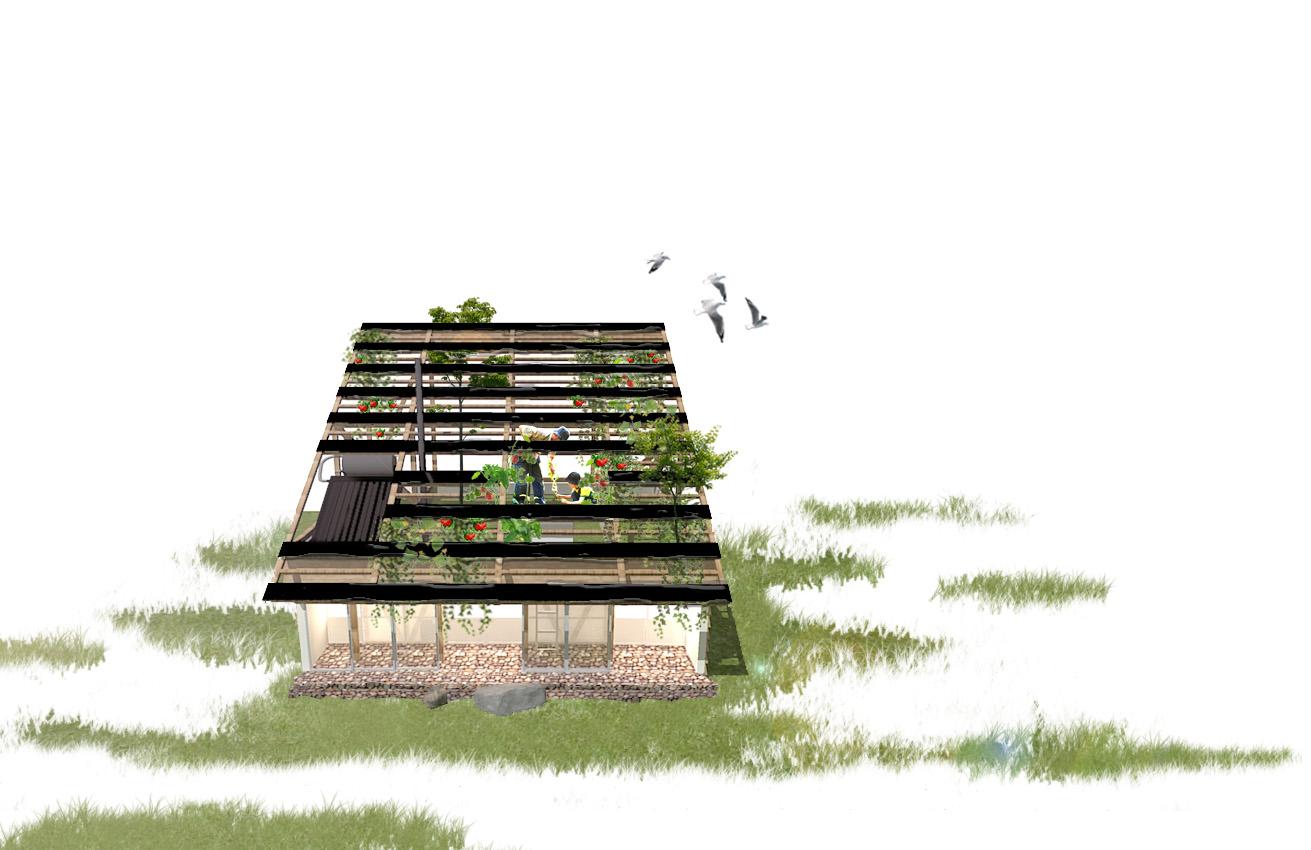 2030年のゼロエネルギー住宅(ZEH)を目指してアイデアを競う「エネマネハウス2015」への応募案。全国の応募案から、実際に建設する5大学の1校として採択され、2015年10〜11月に実証実験と一般公開が行われた。