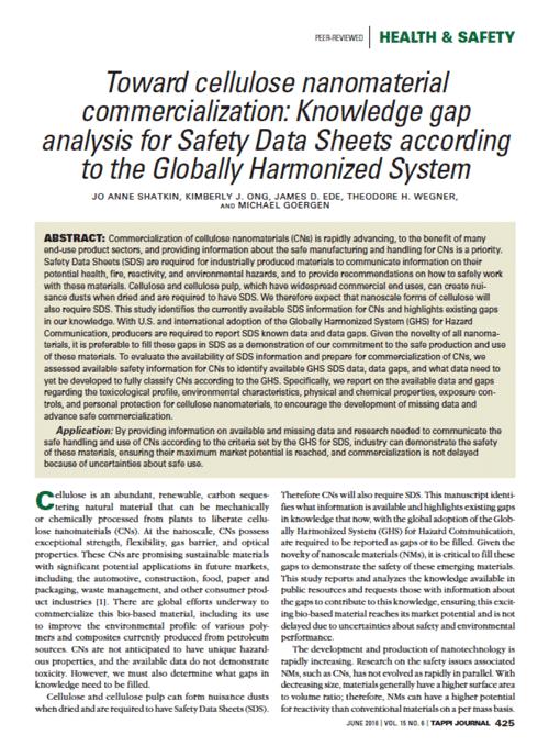 TAPPI Journal Manuscript SDS Gap Analysis