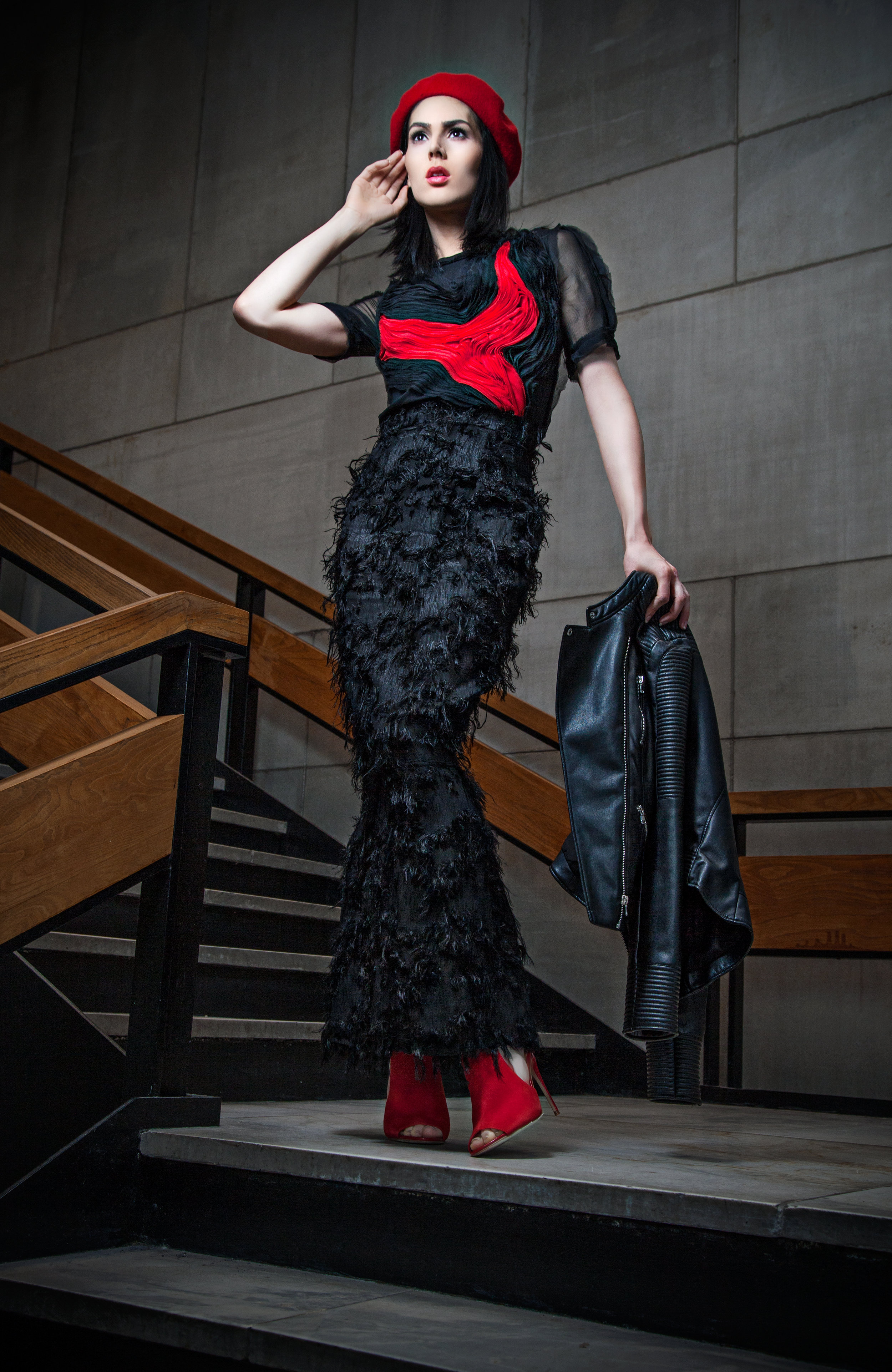 Abstract Heart Blouse + Black Feathery Pillar Skirt     by  Kate Stoltz  @katestoltz     Red beret and leather jacket courtesy of Style Team Member Lee-Ann Laville; Red shoes by Steve Madden