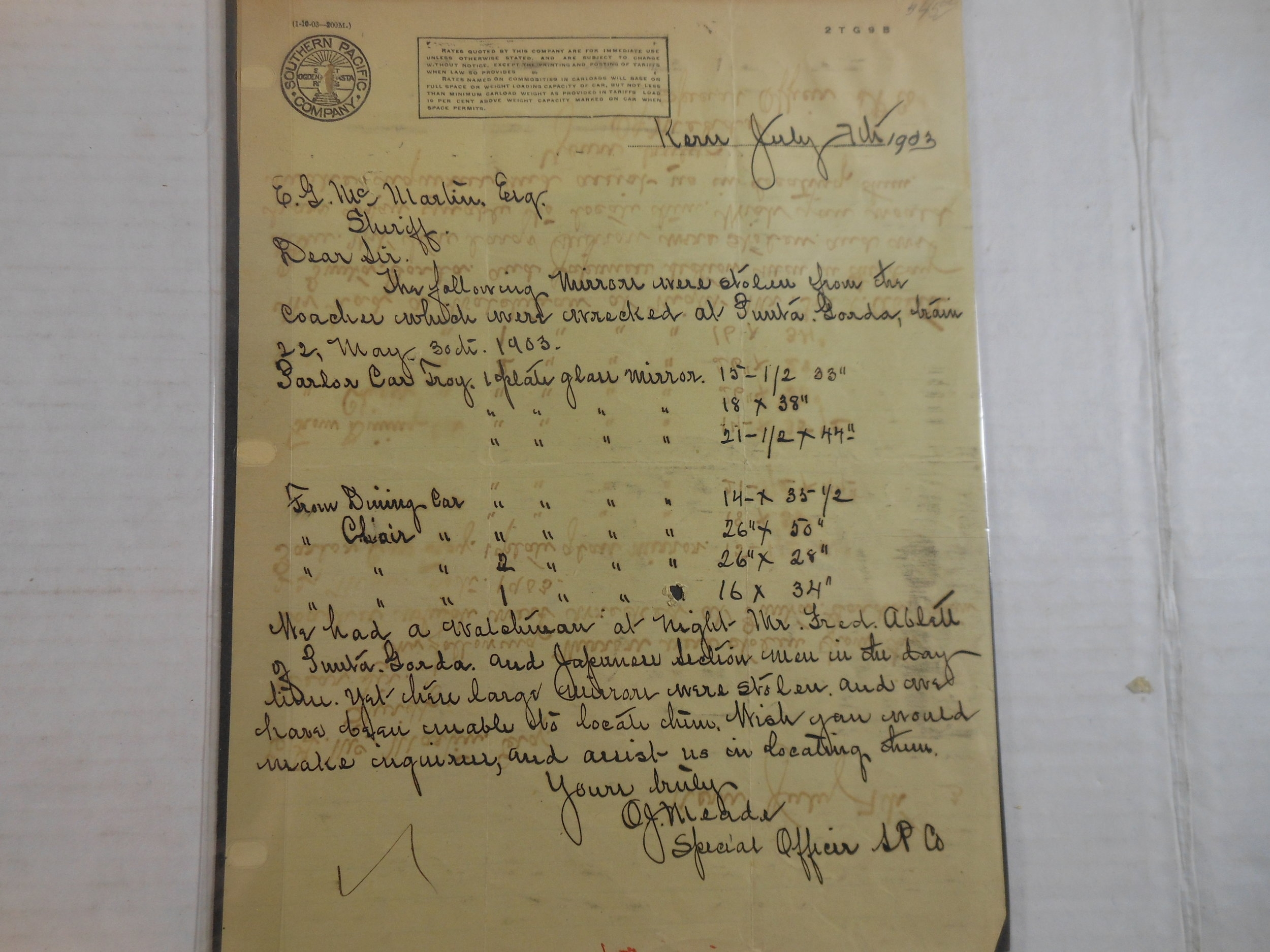 Letter shared by George Marshino.