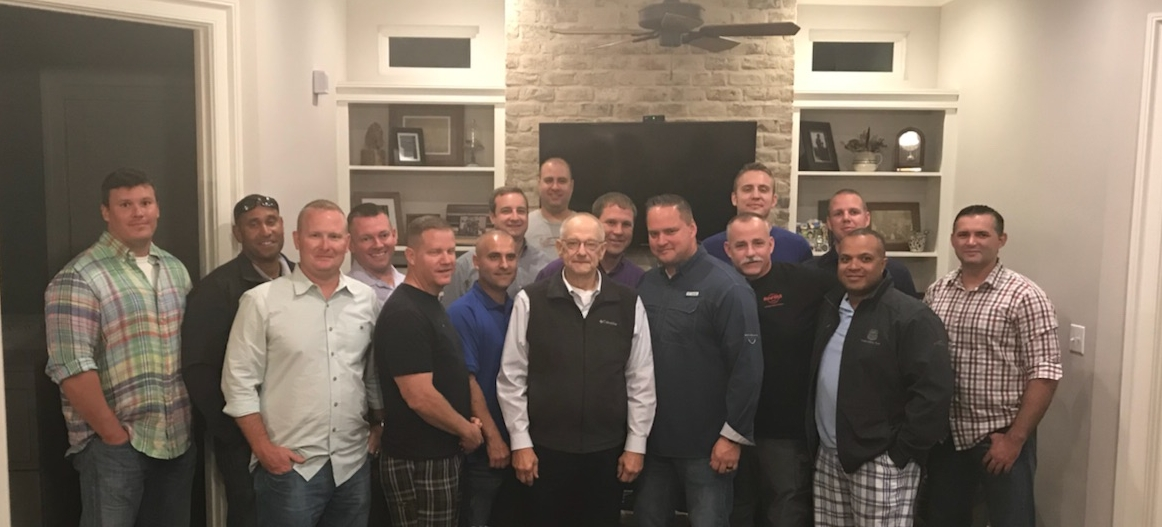 """October 17, 2017 New Orleans, Louisiana. Retirement party for Union Pacific Lieutenant Thomas Carmichael pictured with Agents from the Houston Division.  Left to right front row: Houston Lieutenant Nick Hammond, Texarkana Senior Special Agent Darin Archer, North Little Rock Lieutenant Steven Paddy, Retired Lieutenant Thomas Carmichael, Houston Division Captain Terrill Vandgergriff, Longview Senior Special Agent Charlie Barnes, Houston Senior Special Agent Berwin Arceneaux, Livonia Special Agent Josh Guillory,  Left to right second row: College Station Senior Special Agent Jake Hammer, Avondale Special Agent Quincy Bryant, Avondale Lieutenant John """"Zach"""" Albritton, Houston Senior Special Agent Chris Cordary, Lake Charles Special Agent Jack Bartlet, Houston Special Agent Craig Bastible, Houston Special Agent Cody Osborne.  Back row: Chris Jones  ************************************************************************************************************************************************************************************************************************************"""