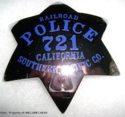 S.P. R.R. Co. Railroad Police Badge #721 (Property of WILLIAM CABAN).jpg