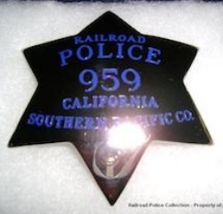 S.P. R.R. Co. Railroad Police Badge #959 (Property of WILLIAM CABAN).jpg