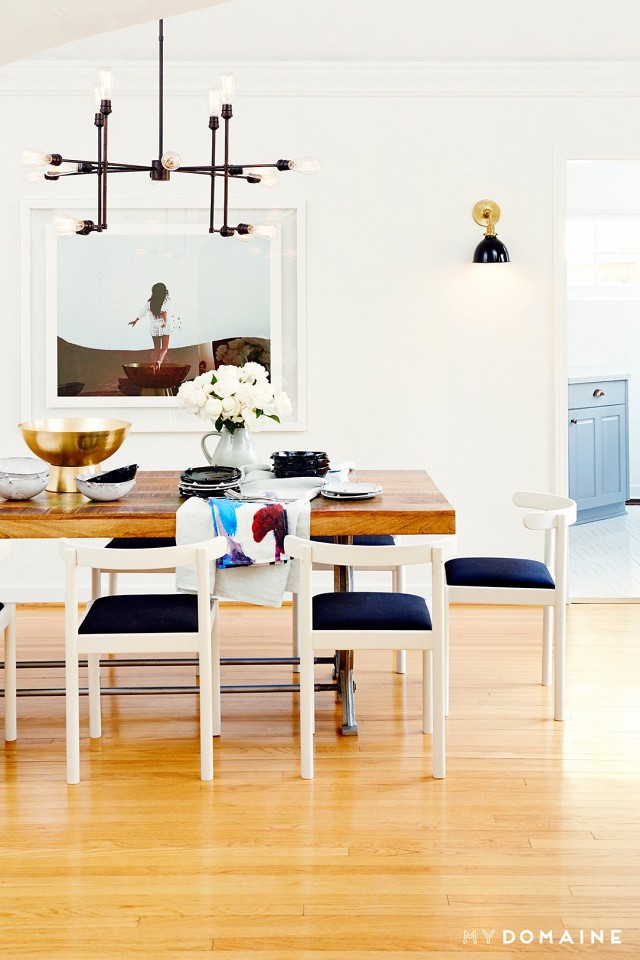 """""""The bright Hollywood home of Nina Dobrev. The 1929 Spanish-style, four-bedroom home, chicly outfitted into a sleek and cosy modern bungalow with the help of Consort Design, channels a clever juxtaposition of effortless California cool and luxe sophistication """"   Shilo Engelbrecht - 'Textiles on the table'"""