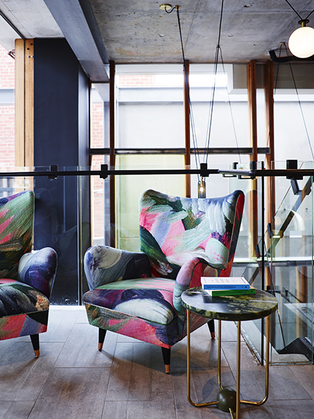 Tanglin 6 upholstered on two large armchairs in Alex Hotel Shot by Ansom Smart  Interior design by Arent&Pyke