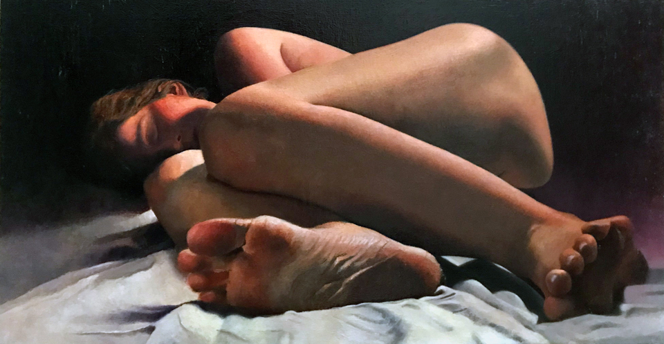 """Lullaby for Grown Ups 21"""" x 40"""" Oil on Canvas"""