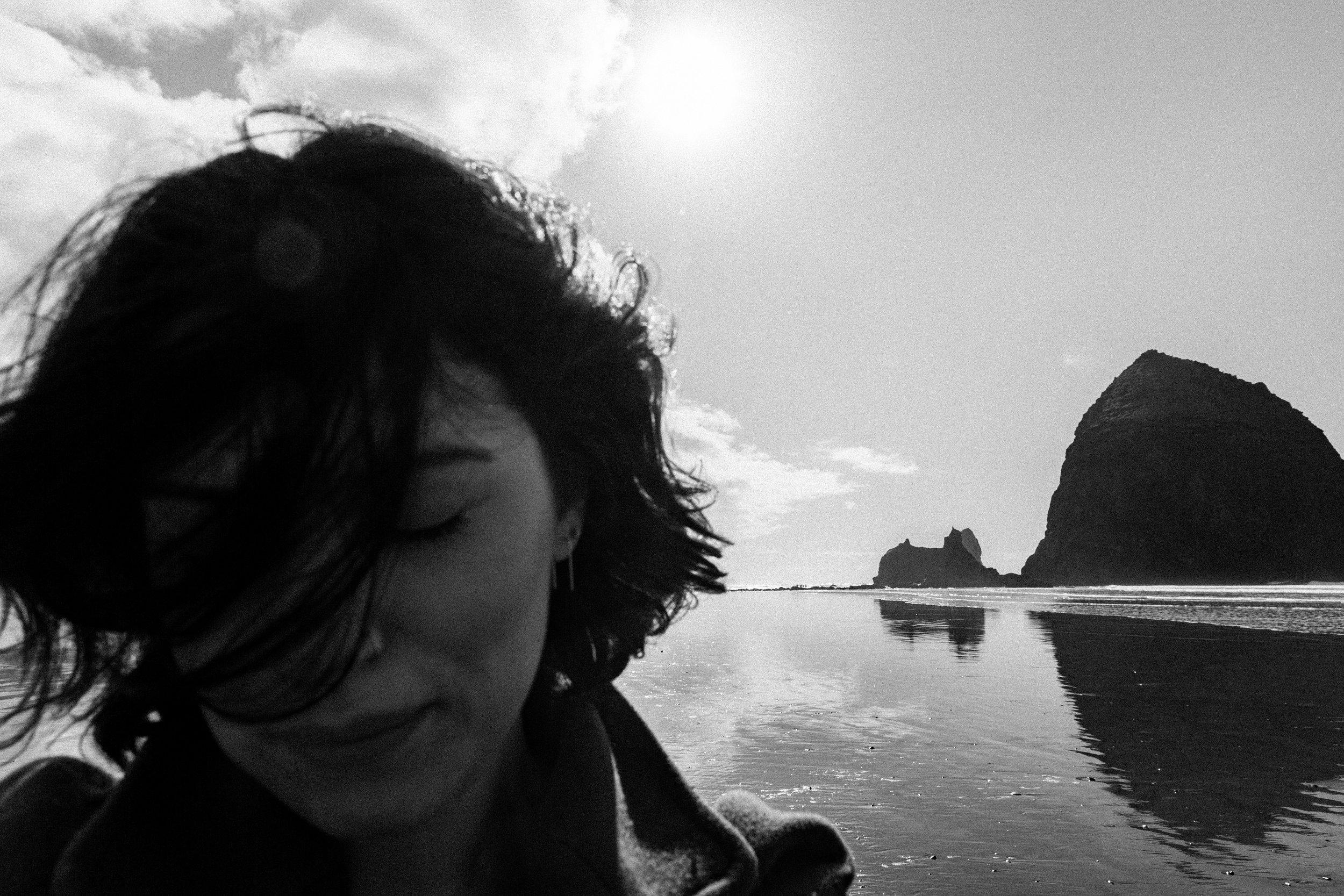 Selfie at Haystack Rock, Cannon Beach, Oregon.