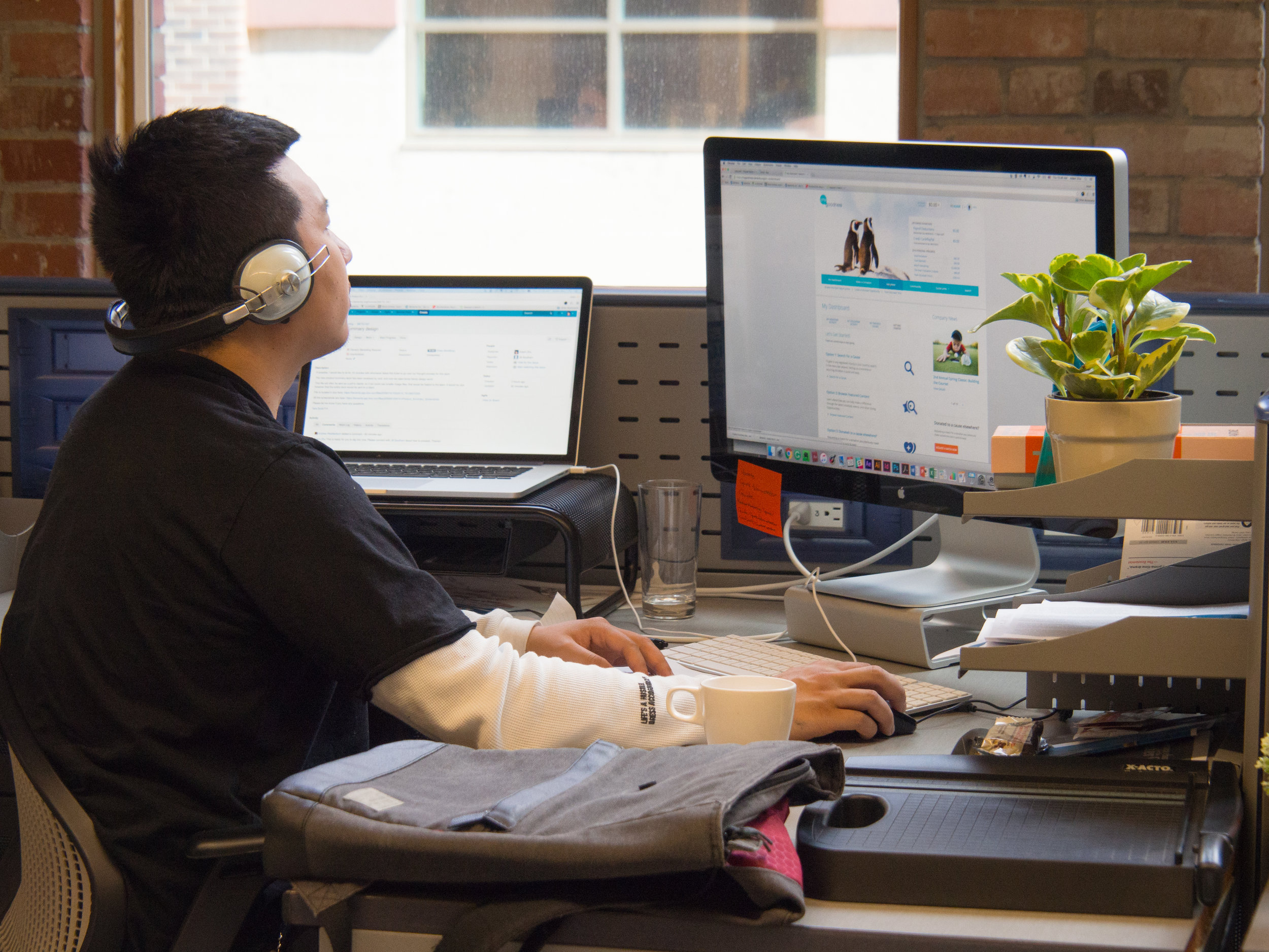 An employee explores Spark, Benevity's industry-leading Goodness platform
