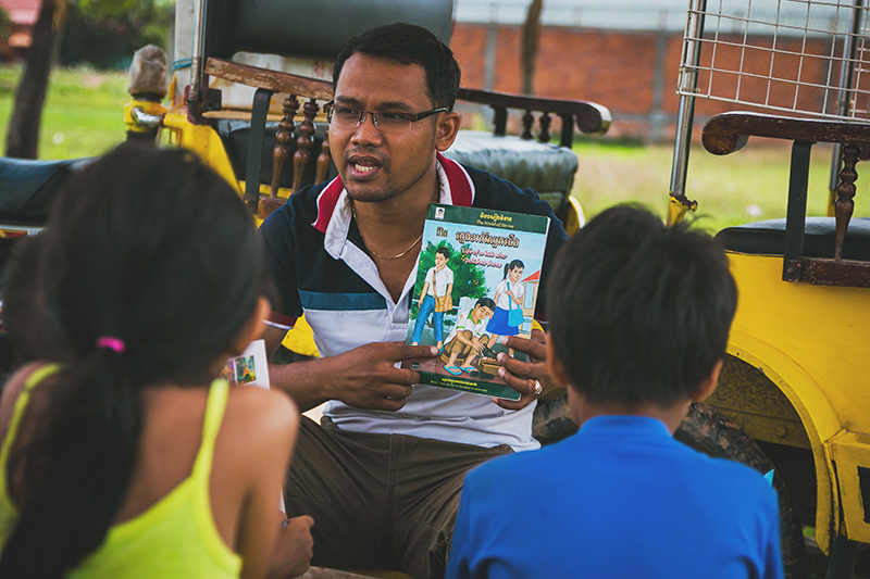 """""""I understand poverty. I lived it. I remember being miserable, empty belly aching, living on the street, obsessed with finding food, 7 years old. I longed for parents to love me like a real child.Today I work with slum living kids. I love them, teach them and share my story with them, they should never let their past determine their future. They can finish school, go to university and help their communities. Help make Cambodia a better place."""" - Houn Thy -"""