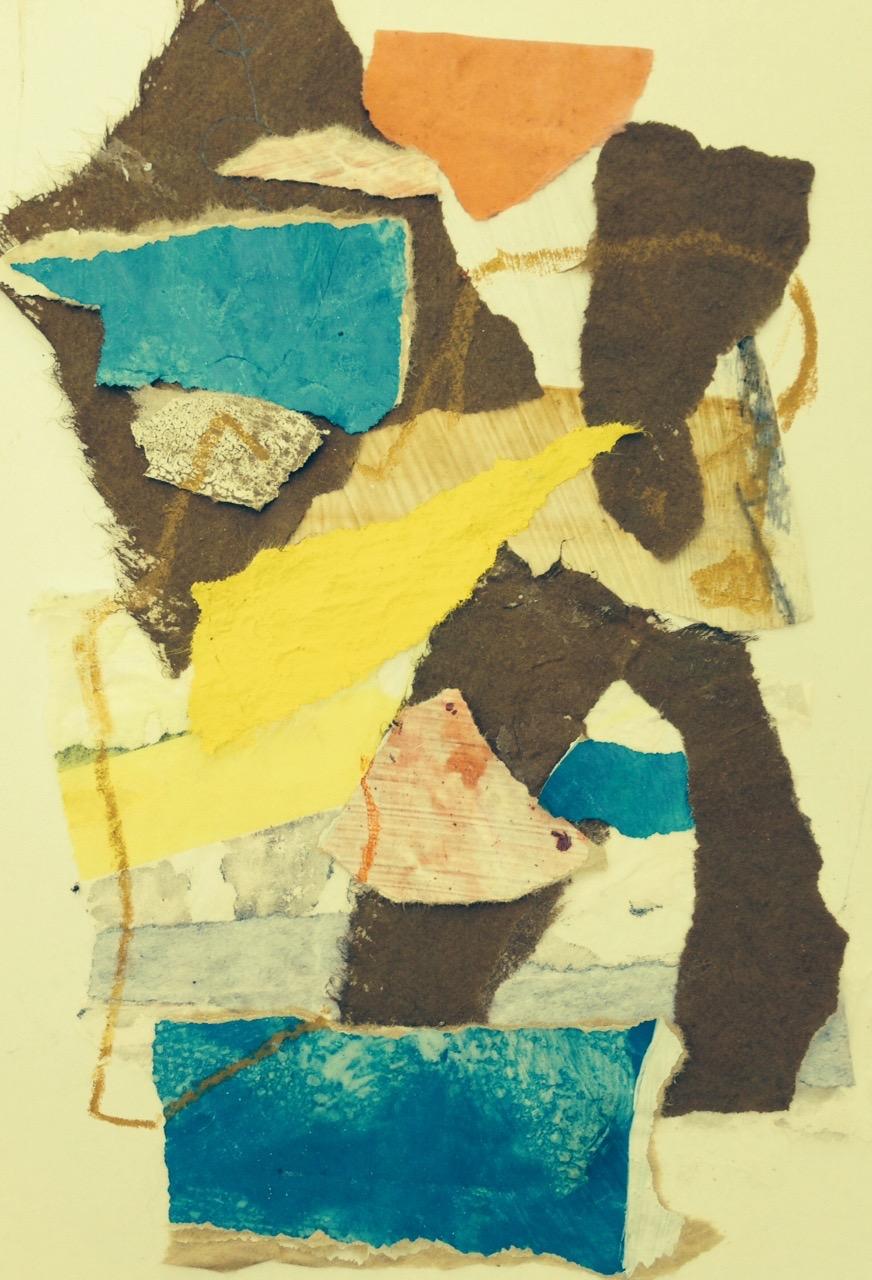 """ chemins "" 16 x 24 cm , collages"