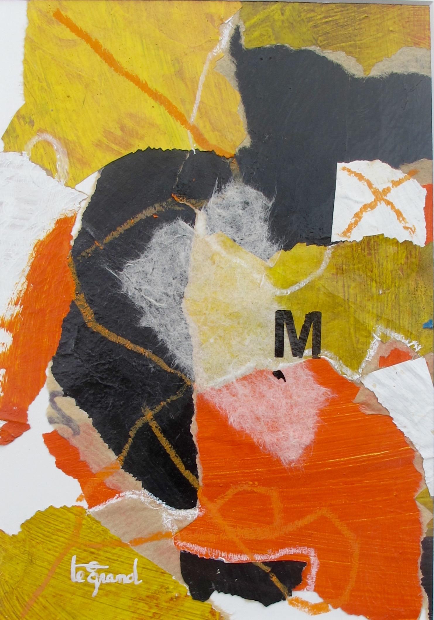 """"""" M """"  20x 15 cm , collages"""