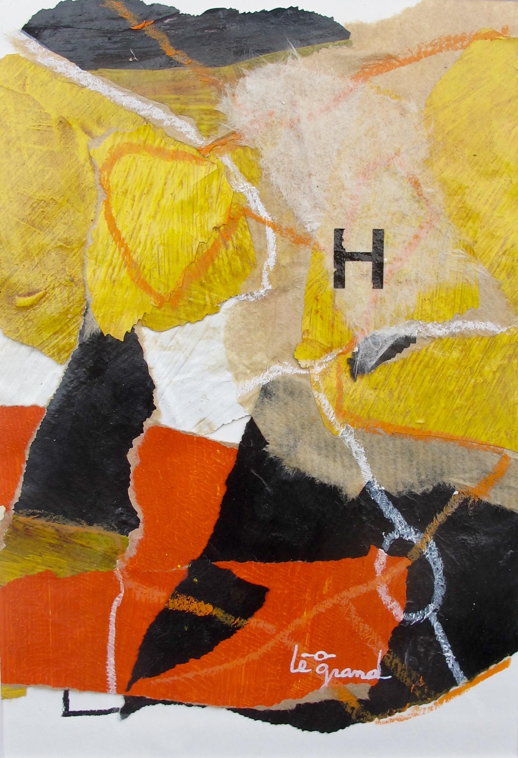 """ H ""  20 x 15 cm , collages"
