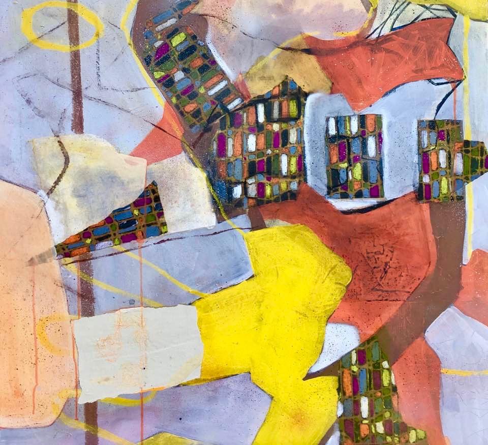 """""""   ATTRAPE QUI PEUT   """" 100 X 100 cm  acrylique pastels gras et collages"""
