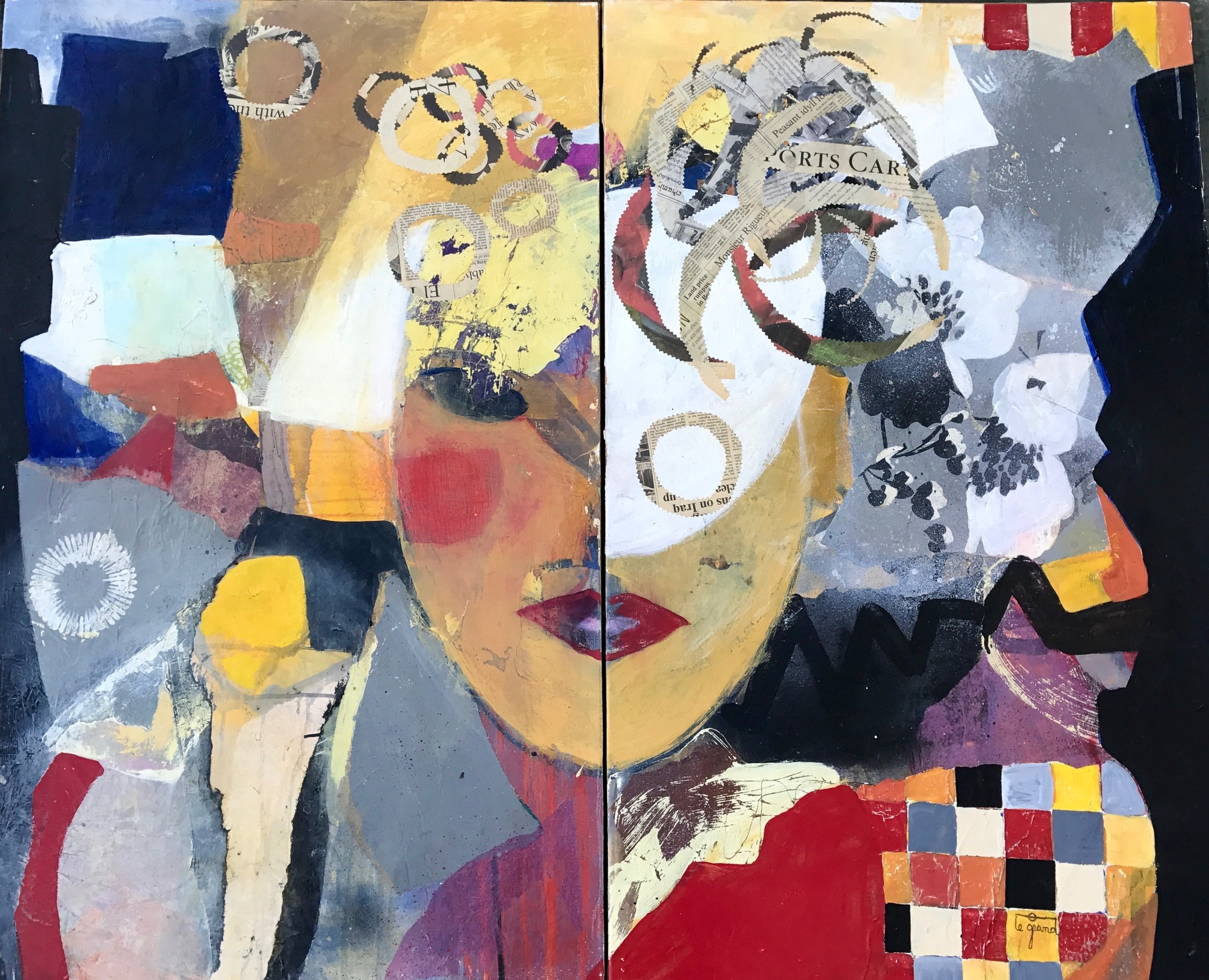 """   MAÏA   "" 67 X 108  cm acrylique et collages"