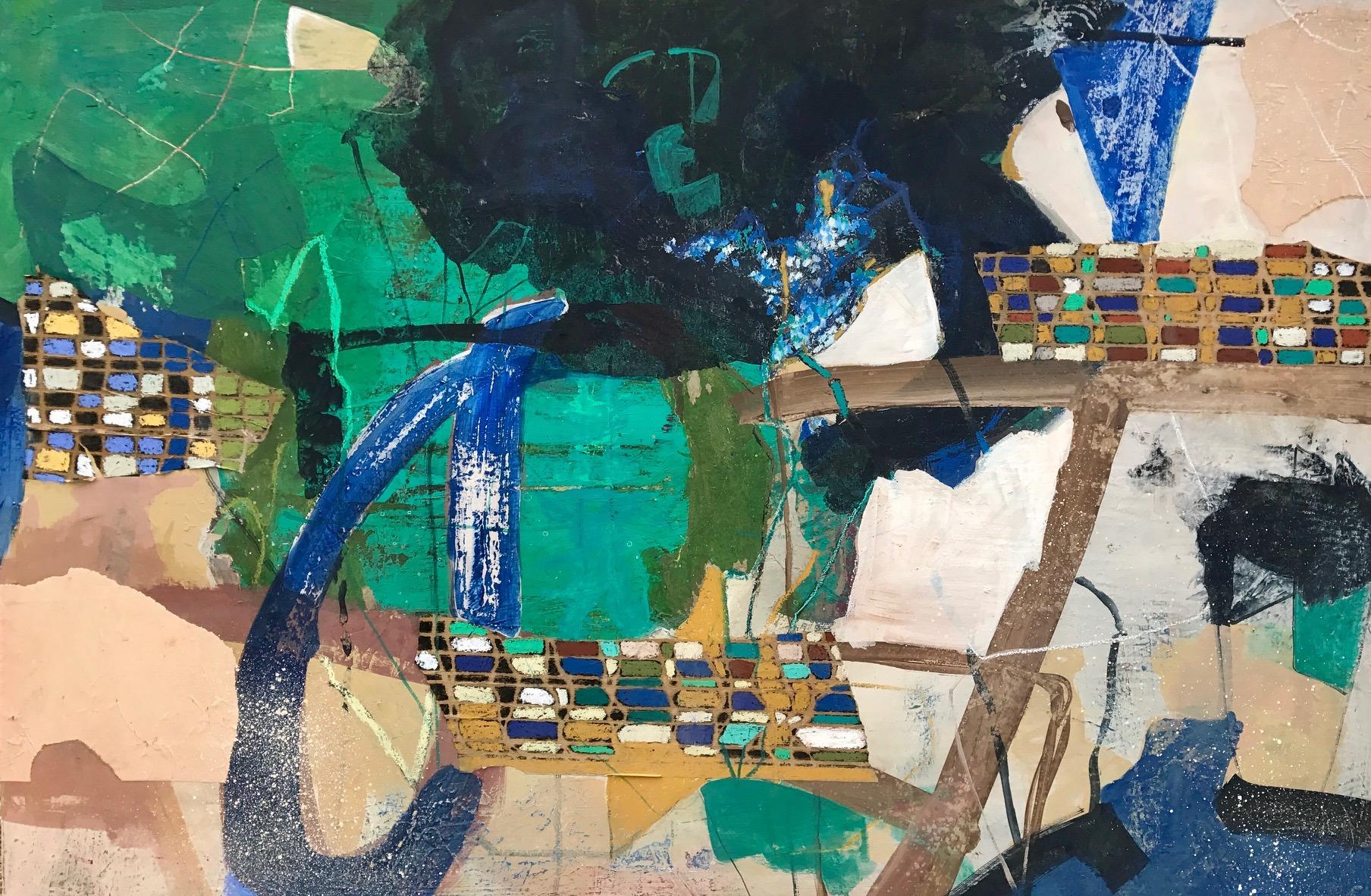 """""""  VUE DU CIEL  """"  130 X 89cm  acrylique pastels gras et collages"""