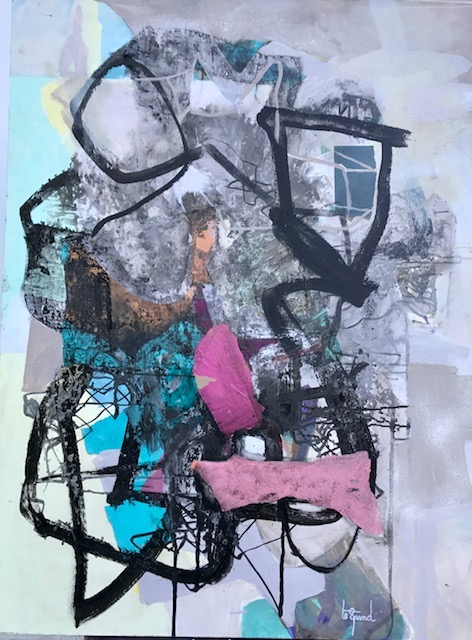""" LOUISE  ""  130 X 97 cm  acrylique encre de chine et collages"