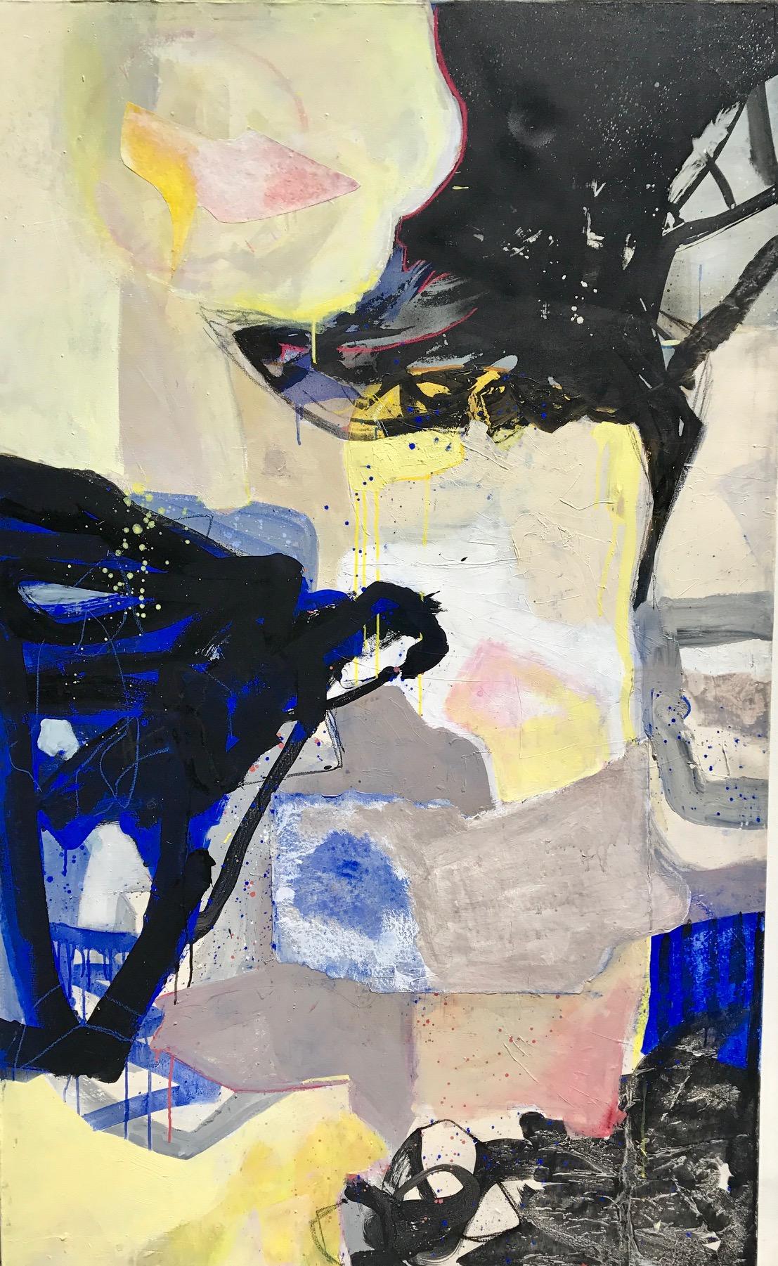 """""""  TALONS AIGUILLES """"  195 X 114 cm  acrylique et collages"""