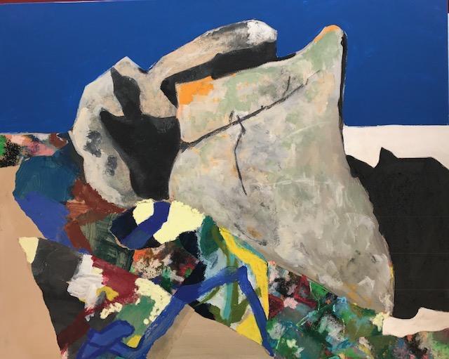 """""""LES MAZILLES 1""""   81 X65 cm  acrylique et collages"""