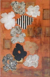 """""""  HOMMAGE A ANDY""""   153X 143 cm acrylique et collages"""