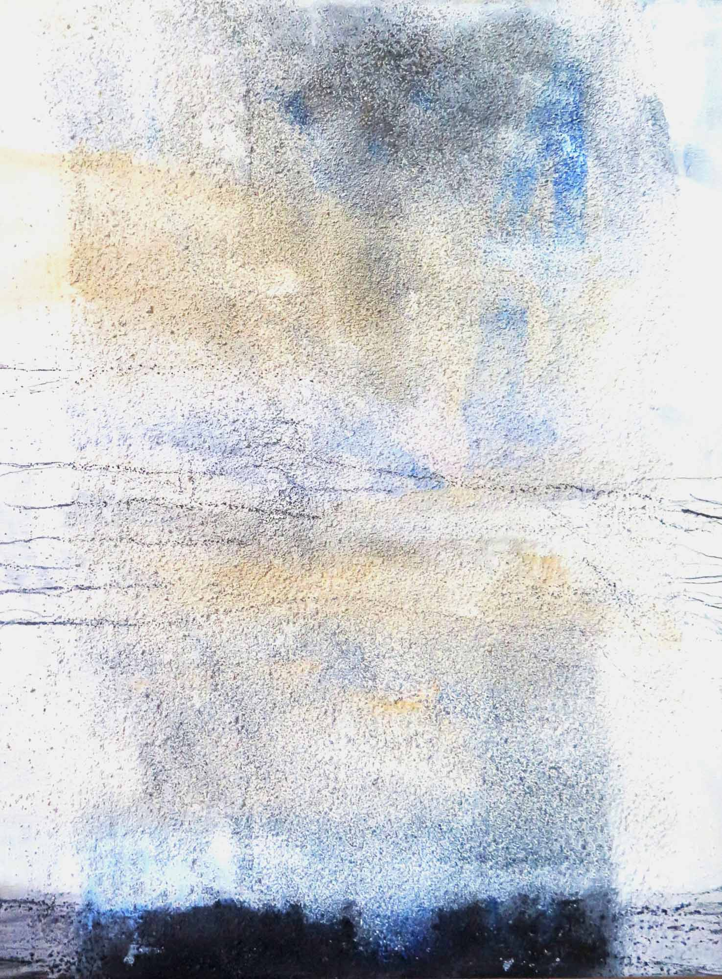 Malerei: Clarissa Mendes, Öl, Acryl, Sand, Graphit auf Leinwand, 30 × 40, 2014