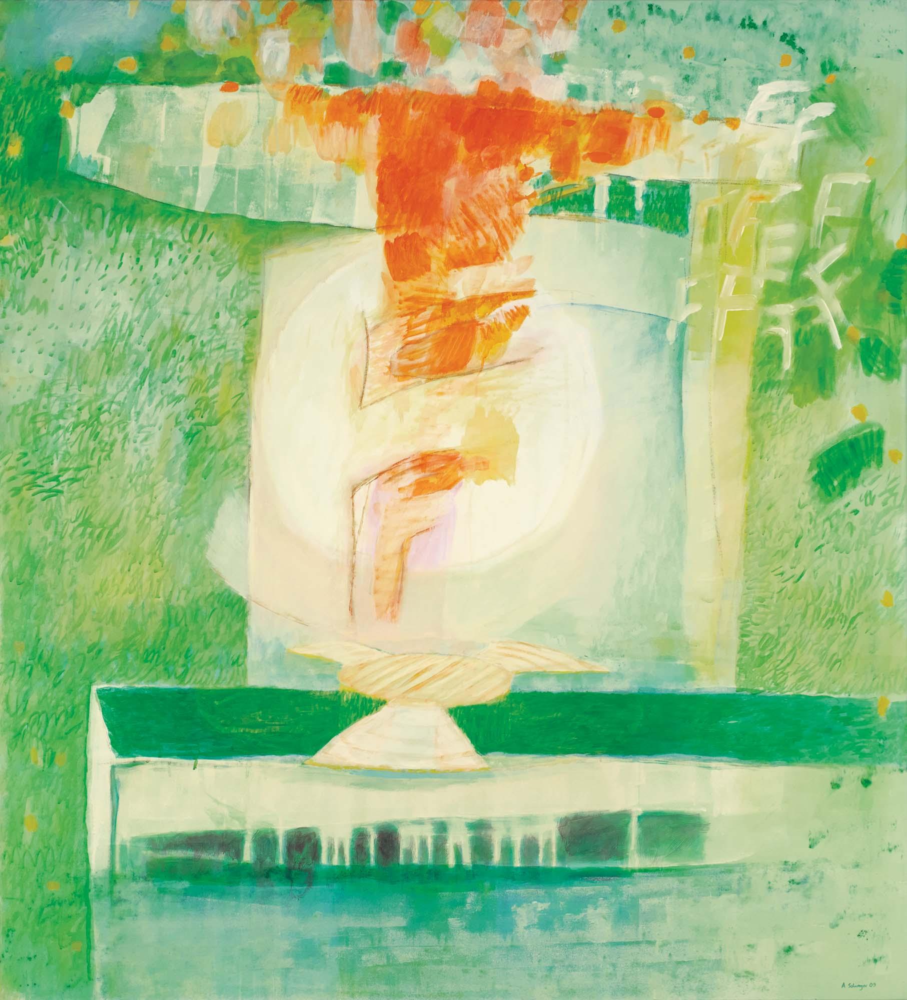 Juli (Materialismus), 2009, Mischtechnik auf Leinwand, 165 × 150 cm