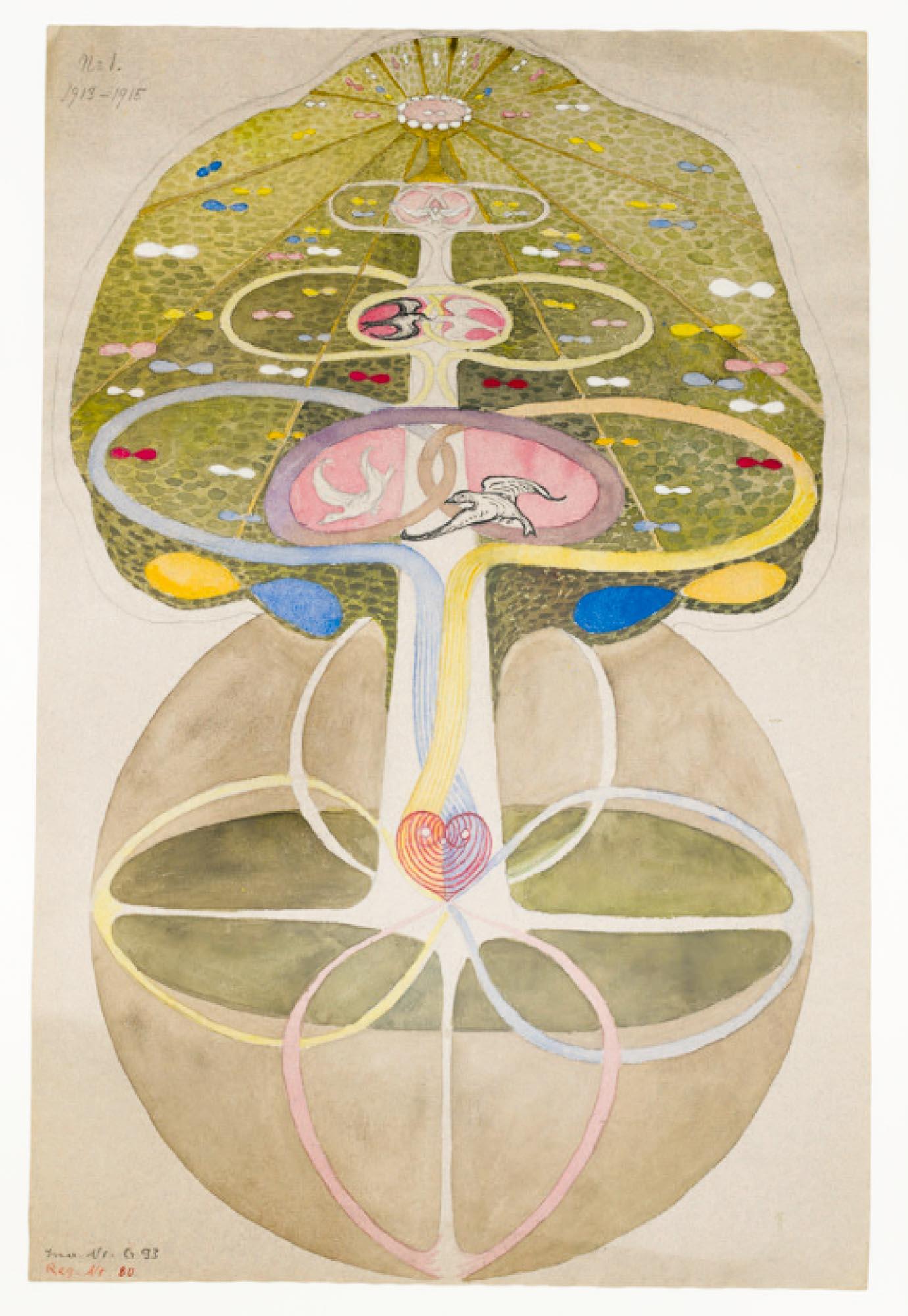 Der Baum der Erkenntnis, Hilma af Klint (Nr. 1), um 1885