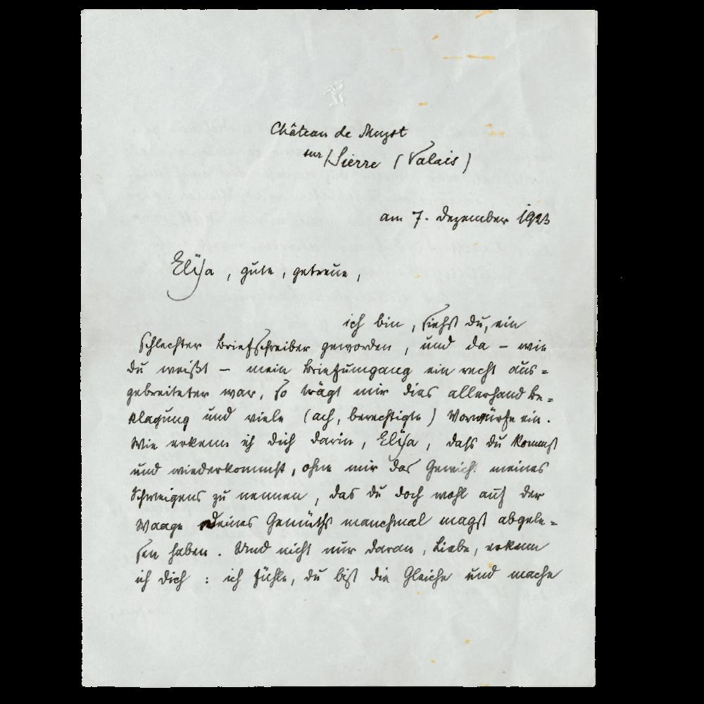 Rainer Maria an Elya, 7. Dezember 1923. Die hier abbgebildeten Briefe befinden sich im Goetheanum Archiv.