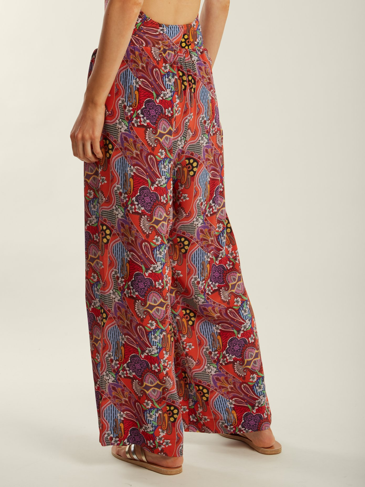 Etro Abstract Floral - Print Silk Trousers