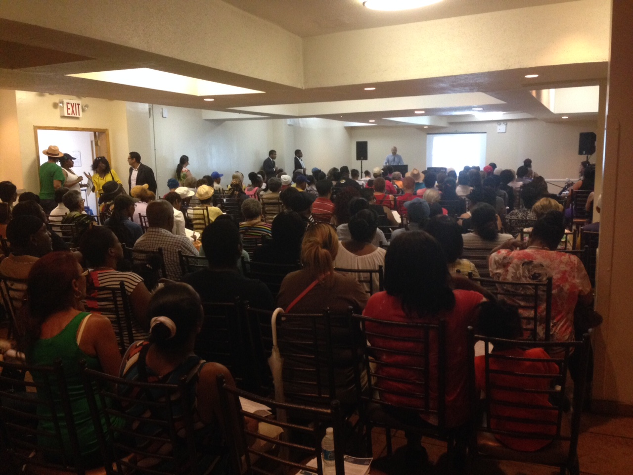 Residents at a PACT/RAD Meeting in Bedford Stuyvesant Restoration Plaza on July 13th.