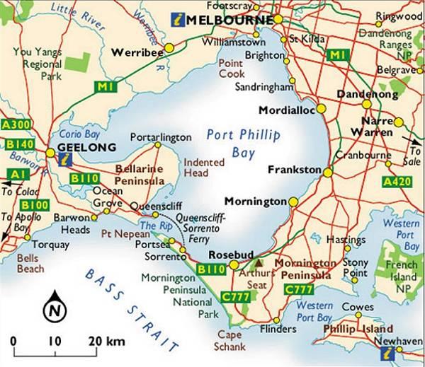 MAP OF MORNINGTON PENINSULA & MELBOURNE (Image credits:http://www.bcl.com.au/melbourne/victoriamap03.htm)