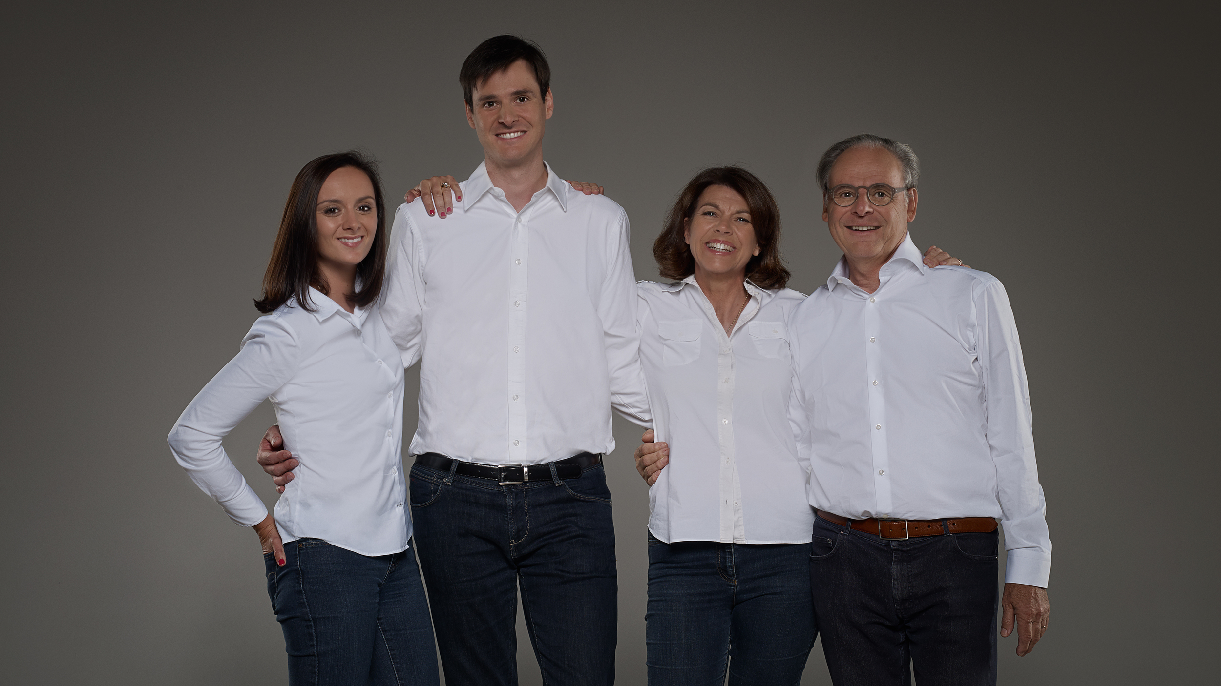 Decoster Family- Left to Right, Daughter-in-law Caroline, Son Ludovic, Parents Florence and Dominique Decoster (Photo credit: Chateau Fleur Cardinale)
