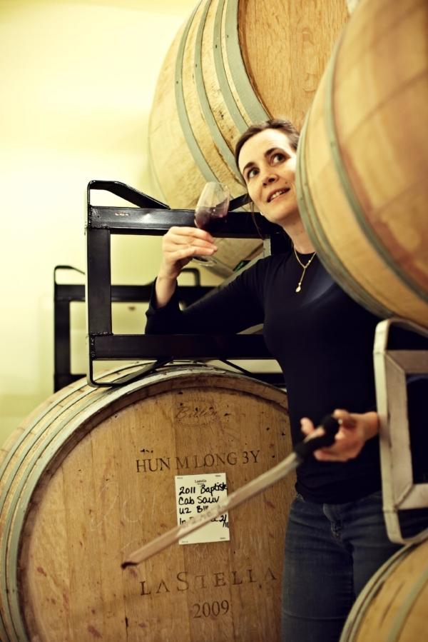 Severine Pinte, at her La Stella Winery doing a barrel tasting