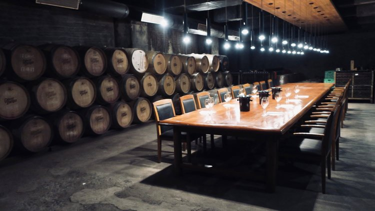 Tasting table in the Barrel room where our tasting was held (Photo credit: Sumi_Sumilier)