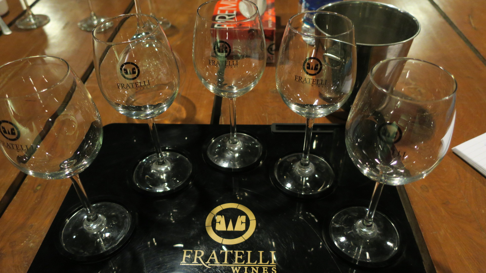 We are ready for the pour. Starting my tastings at Fratelli (Photo: Sumi Sarma)